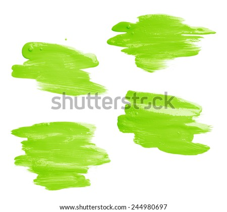 Hand made oil paint brush stroke isolated over the white background as a design element of a backdrop, set of four different shapes - stock photo