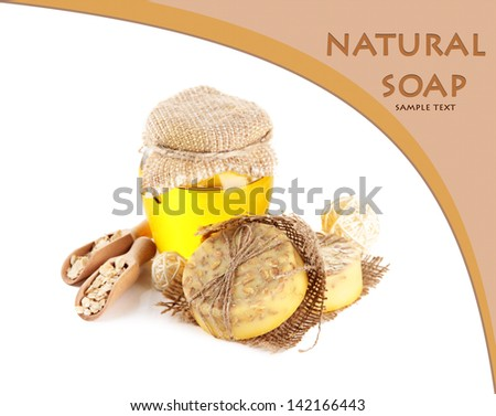 Hand made soap and ingredients for soap making, isolated on white - stock photo