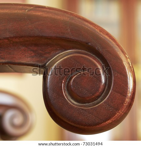 hand-made wooden armchair detail - stock photo