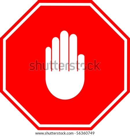 hand making a stop signal sign - stock photo