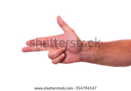 Hand making gun gesture - stock photo