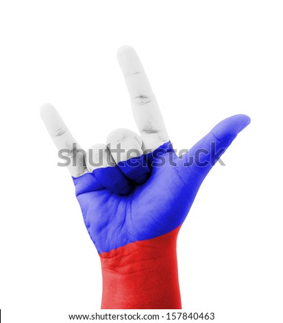 Hand making I love you sign, Russia flag painted, multi purpose concept - isolated on white background - stock photo