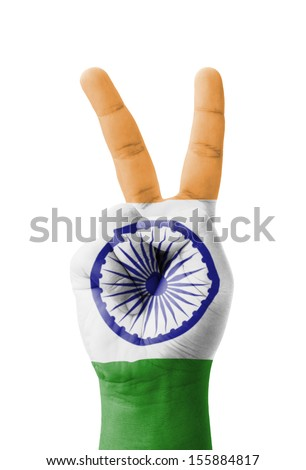 Hand making the V sign, India flag painted as symbol of victory, win, success - isolated on white background - stock photo