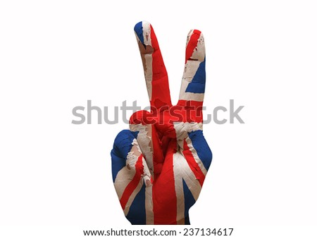 Hand making the V sign united kingdom country flag painted - stock photo