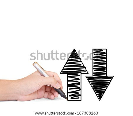 hand man drawing a graph  - stock photo
