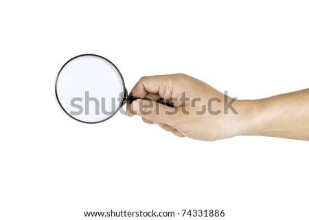 hand man finding on white background - stock photo