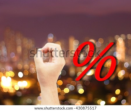 hand Mark zero city bokeh blur background. per null touch digit free base shop buy idea ease down sale man male price sign show rate red offer shiny money bank house modern retail market rebate 0 O  - stock photo