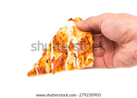 hand men use hand picking tasty pizza slice, isolated on white background - stock photo