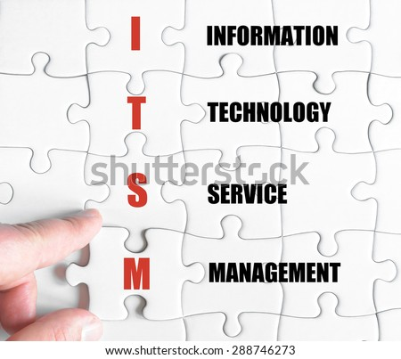 Hand of a business man completing the puzzle with the last missing piece.Concept image of Business Acronym ITSM as Information Technology Service Management - stock photo