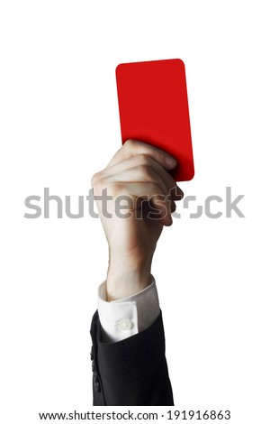hand of a businessman holding a red card in the air - stock photo