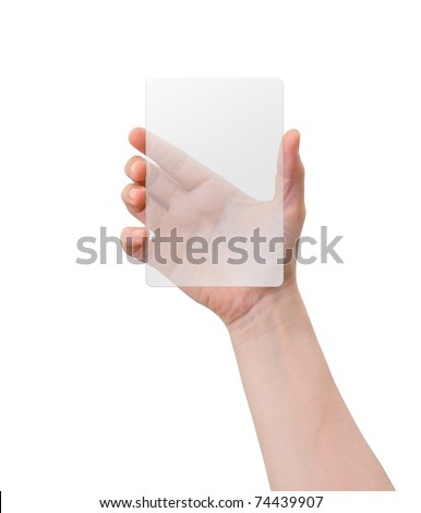Hand of a caucasian female holding transparent white plastic device, isolated on white - stock photo