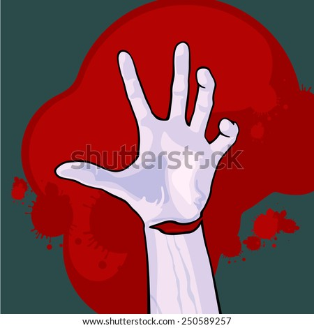 Hand of a dead man (raster version) - stock photo