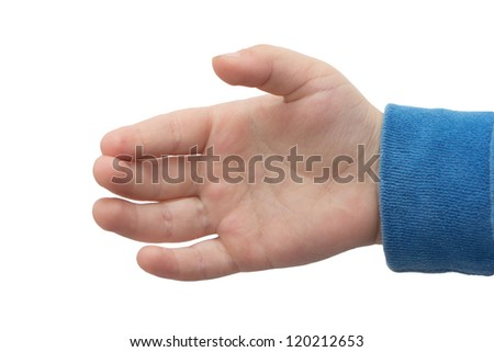 hand of a little boy on a white background - stock photo