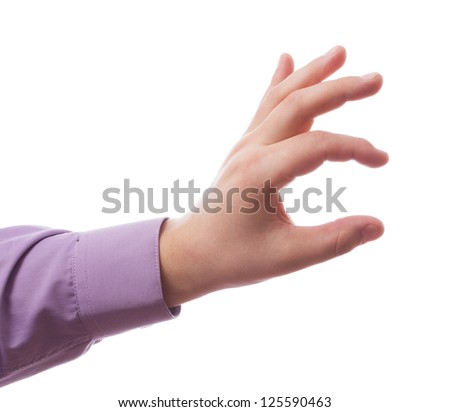 Hand of a man to hold card, mobile phone, tablet PC or other palm gadget, isolated on white - stock photo