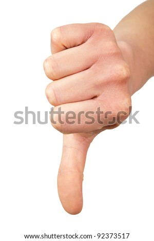 Hand of a woman with thumb down isolated on a white background - stock photo