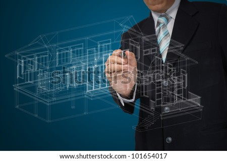 Hand of Business Man Draw 3D architect or home plan - stock photo