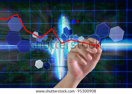 Hand of Business Man Draw Falling graph on Touch screen of Tablet PC - stock photo