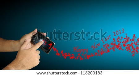 Hand of Business man hold smartphone with Happy New Year 2013 theme - stock photo