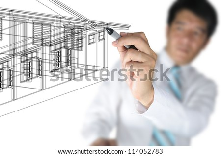 Hand of Business Man or Architect Draw 3D architectural home plan - stock photo