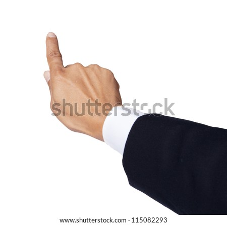hand of business man pointing to forward isolated on white - stock photo