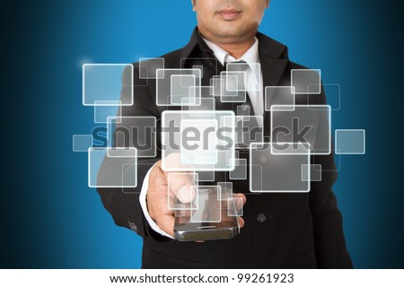 Hand of Business Man Pressing or Pushing touch screen of Mobile Smartphone - stock photo