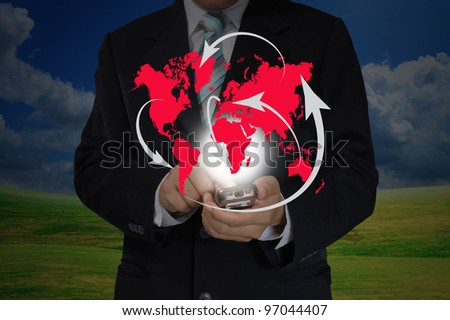 Hand of Business Man Pushing touching screen of mobile smart phone as Global network concept - stock photo