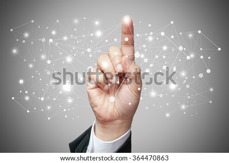 Hand of business man touch screen of network. Concept of computer network. - stock photo