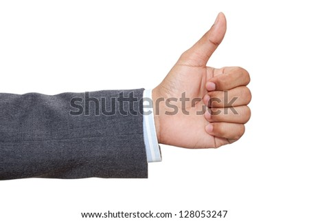 Hand of business man with thumb up - stock photo