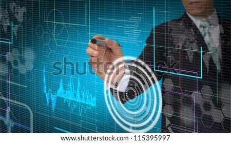 Hand of Business man working with virtual digital interface or environment - stock photo