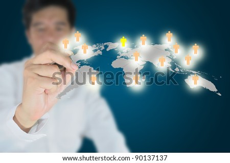 Hand of Business man write social network diagram on touch screen - stock photo