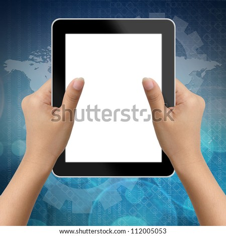 Hand of business woman holding digital tablet with blank screen - stock photo