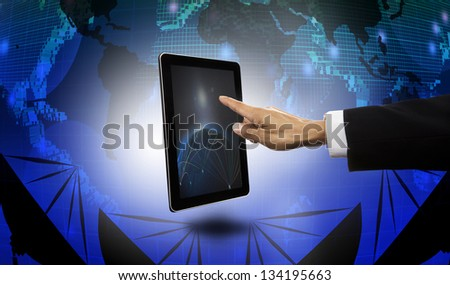 hand of businessman pointing to tablet with satellite dish and world map  background - stock photo