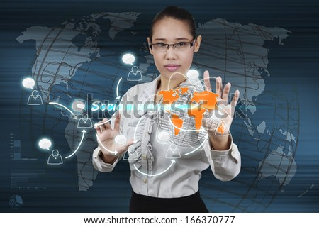 Hand of businessman touching virtual screen the social network concept. - stock photo
