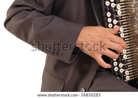 hand of button accordion player isolated on white background - stock photo