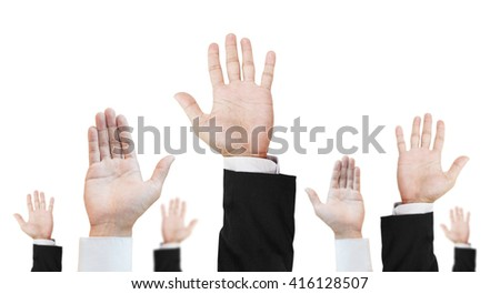 Hand of difference career raising upward, isolated on white background - stock photo