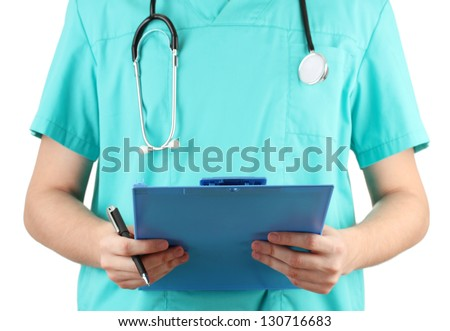 Hand of doctor with prescription blank, isolated on white - stock photo