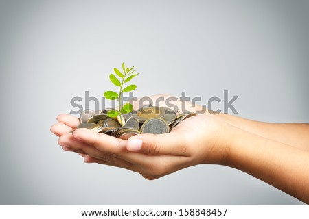 Hand of little girl with tree growing from pile of coins - stock photo