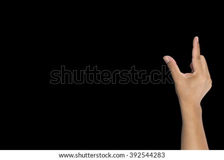 Hand of man to hold card, mobile phone, tablet PC or other isolated on black background - stock photo