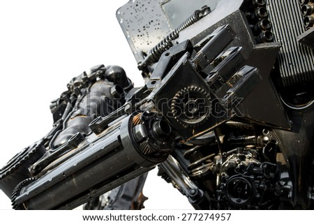 Hand of Metallic cyber or robot made from Mechanical ratchets - stock photo