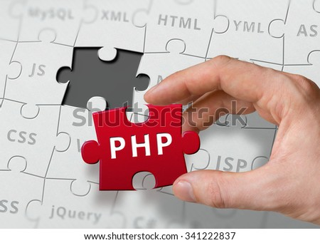 Hand of programmer holds puzzle with PHP programming language written. - stock photo