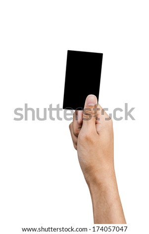 Hand of referee with Black card isolated on white background - stock photo