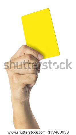 hand Of Soccer Referee Showing Yellow Card isolated On White Background - stock photo