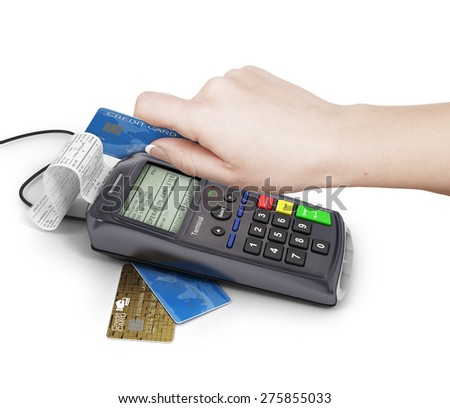 Hand of woman using payment terminal, paying with credit card, finance concept. - stock photo