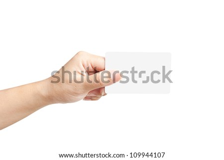 Hand of women holding sale paper label or tag on white background - stock photo
