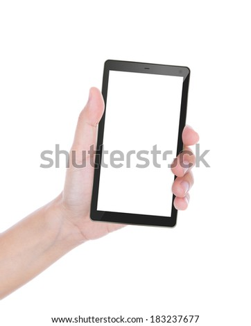 Hand of women to hold card, mobile phone, tablet PC or other isolated on white background - stock photo