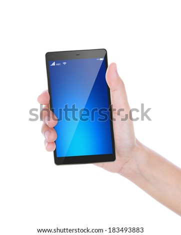Hand of women to hold mobile phone,  isolated on white background - stock photo