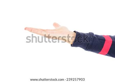 Hand offering gesture - stock photo