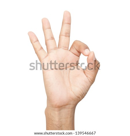 Hand OK sign on white background - stock photo