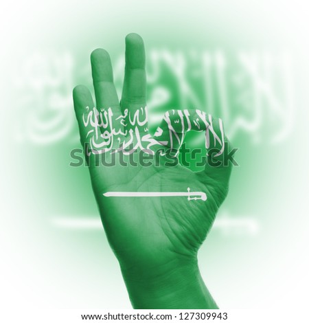hand OK sign, wrapped in the flag of Saudi Arabia - stock photo