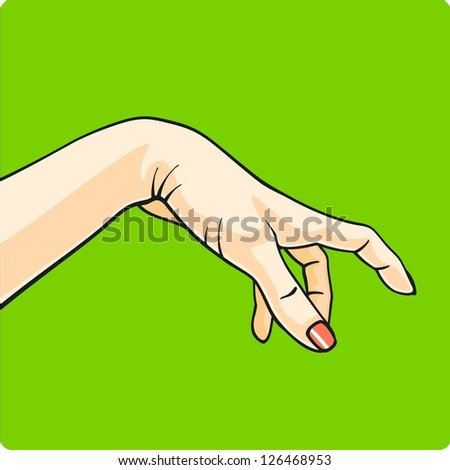 Hand on a green background (raster version) - stock photo